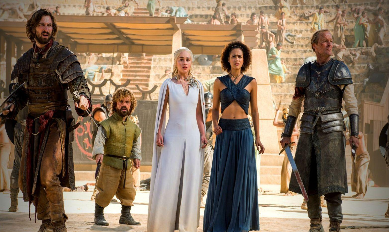 NEGATIV_GAME OF THRONES_THE DANCE OF DRAGONS_Daario Naharis, Tyrion Lannister, Daenerys Targaryen, Missandei, Ser Jorah Mormont